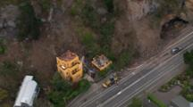 Aerial Christchurch Earthquake, Landslides Damages Home Adjacent To Road