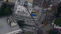 Aerial Christchurch Earthquake, Emergency Crews With Cranes Work On Damaged Building