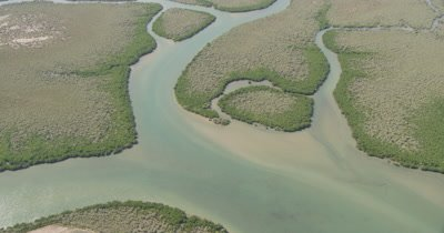 Aerial,Flat Landscape Of Western Australia Wetland,Rivers