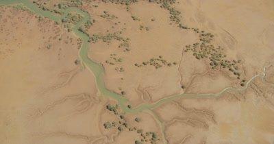 Aerial,Flat Landscape Of Western Australia,River,Tributaries,Wetland