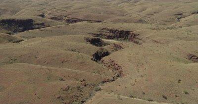 Aerial,Desolate Desert Landscape Of Western Australia