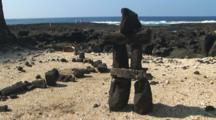 Balanced Rock, Lava Rock Cairn, On The Beach