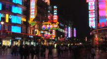 Neon Lights On Nanjing Road, Pedestrian Mall, Shanghai, China, , Time Lapse