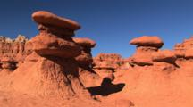 Unique Eroded Rock Formation In Goblin Valley State Park, Utah Tilt Up