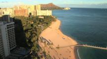 Waikiki Beach With Diamond Head In The Distance, Honolulu, Hawaii