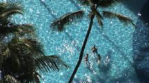 Overhead Shot Of Tourists In A Tropical Pool, Honolulu, Hawaii