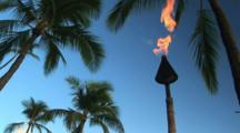 Tiki Torch Burning, Honolulu, Hawaii