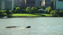 Oarsmen Training On The Willamette River In Portland, Oregon.