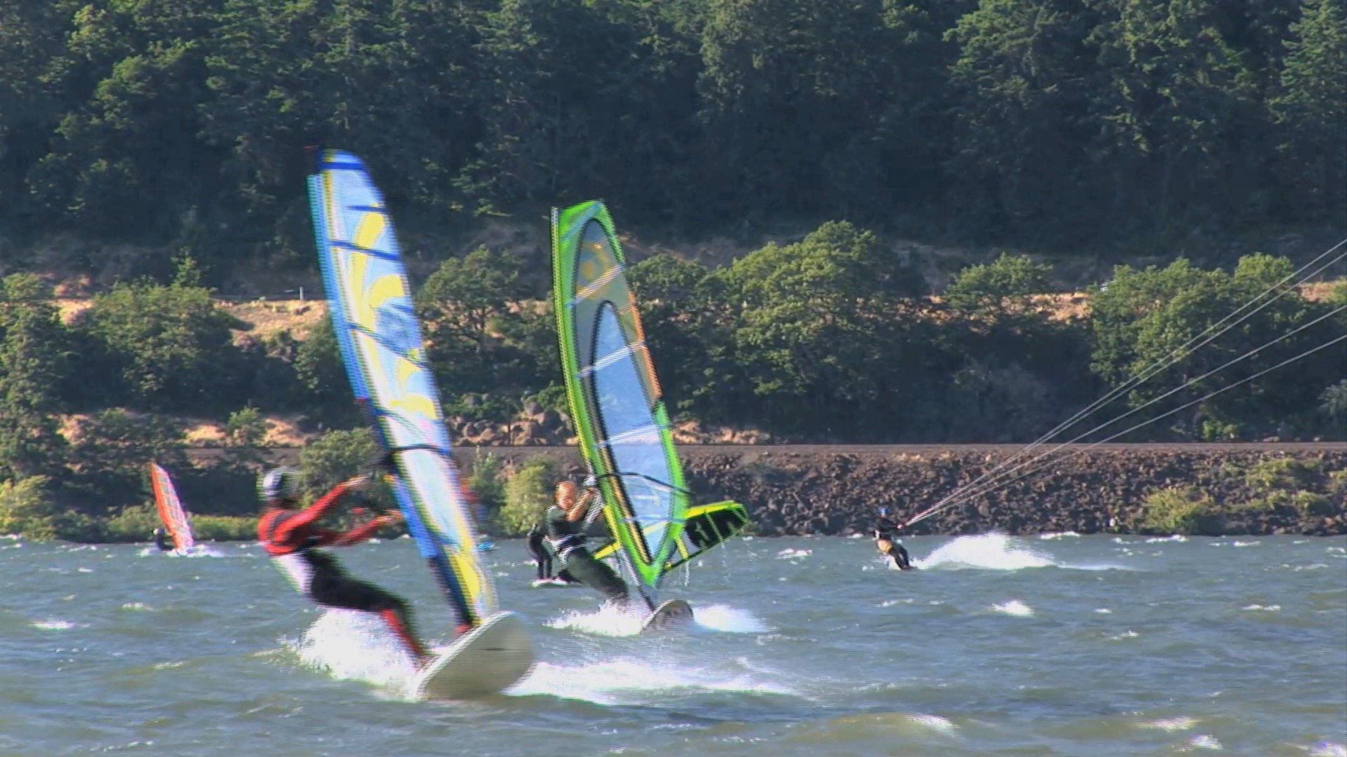 Windsurfers And Kiteboarders On The Columbia River