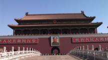 Portrait Of Chairman Mao Zedong Outside Forbidden City In Beijing, China