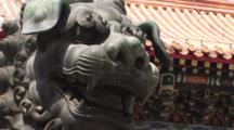 Bronze Lion At The Lama Temple, Buddhist Temple, Beijing, China, Zoom Out