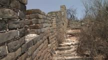 Original Section Of The Great Wall Walkway And Steps Covered With Trees, China, Jinshanling