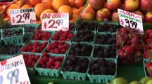 Blueberries, Raspberries, Strawberries And Blackberries At Pike Place Market, Seattle, Washington, Zoom In