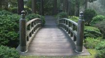 Wood Bridge In A Japanese Garden