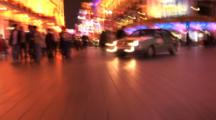Handheld Slow Motion Shot Of The Neon Lights On Nanjing Road, Shanghai, China