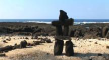 Lava Rock Cairn, On The Beach At Pu'uhonua O Honaunau National Historical Park, Big Island, Hawaii