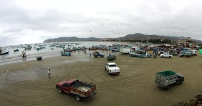 Wide shot of the Fish Market at Puerto Lopez, showing the fishing boats arriving and the refrigeration trucks ready.