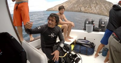 A Medium Shot of the Diver who saved the Entangled Manta.