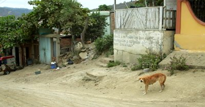Pan shot of a Dusty Street in the village of Puerto Lopez.