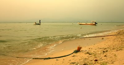 Wide Shot , during the day, of of two  Seaweed Farmers rowing back home  on their Traditional boat that is laden with their harvested crops,.Eucheuma spp