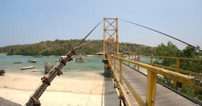 Medium Shot of the bridge between Nusa Lembongan and Nusa Ceningan