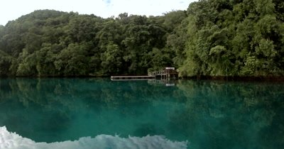 Traveling by speed boat to Jellyfish lake (fifth Lake)on Eil Malk island,Koror, Palau . Arriving at the Entrance.