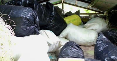 A shed full of confiscated illegal fishing wires, hooks etc.