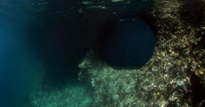 A diver swims through a circular swim through hole