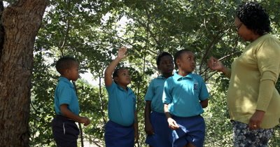 A teacher and four Primary School kids having an outdoor lesson on conservation