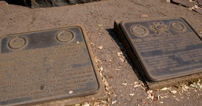 Reveal of the Livingstone statue at  Victoria Falls,Zimbabwe on the Zambezi River