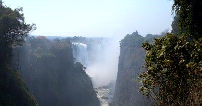 Tilt Side view of   Victoria Falls,Zimbabwe on the Zambezi River