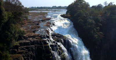 Water gushing down the Victoria falls