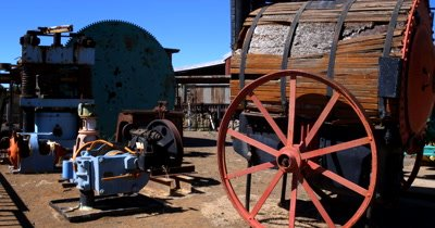 Historic Diamond excavation equipment at Kimberly's Big Hole.