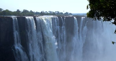 Water gushing down the main section of Victoria falls