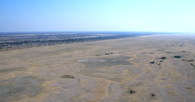 Aerial shot of the desolate Makgadikgadi saltpans