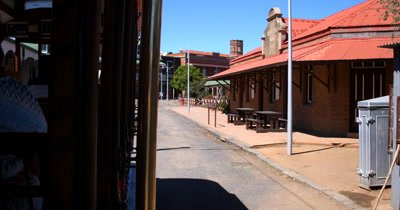Traveling on the original tram through the historic village of Kimberly