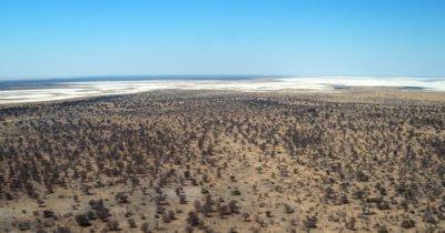 Aerial shot of the desolate Makgadikgadi saltpans