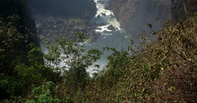 Reveal of Victoria falls through the valley