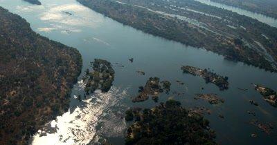 Aerial shot of The Zambezi River at Victoria Falls