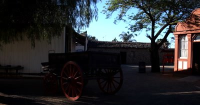 Shops,wagons,the church and the streets in the recreated village of Kimberly, at the Big Hole