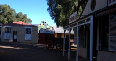 Shops,wagons and the streets in the recreated village of Kimberly, at the Big Hole