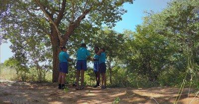 School kids chatting at break time