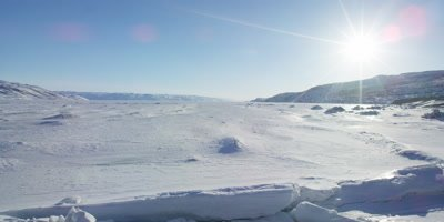 Scenic view of the snow covered Greenland landscape