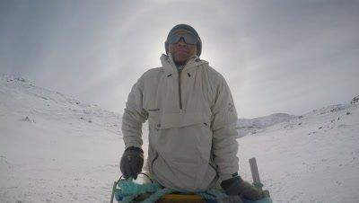 Dog Sledding In the Arctic tundra