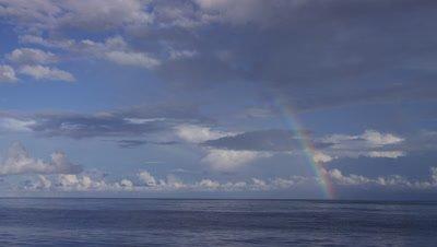 Rainbow on the ocean's horizon