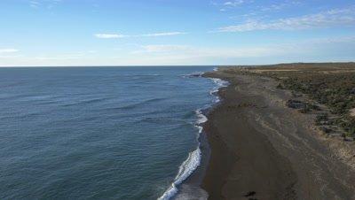 Punta Norte sea lion colony,Establishing 4K aerial wide shot at high tide