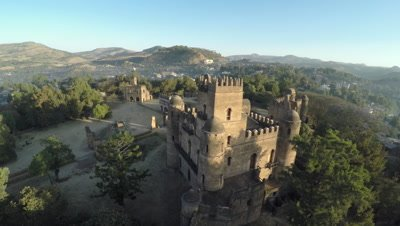 Flight over Fasilides Castle in Gondar, 4K Aerial