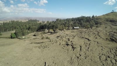 Flight over village in the Simien Mountains, 4K aerial