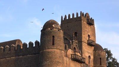 Gondar Fasil Ghebbi, tower with birds circling