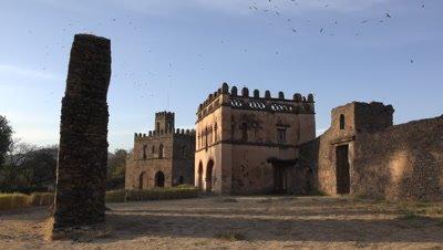 Gondar Fasil Ghebbi, wide shot with birds circling over castle